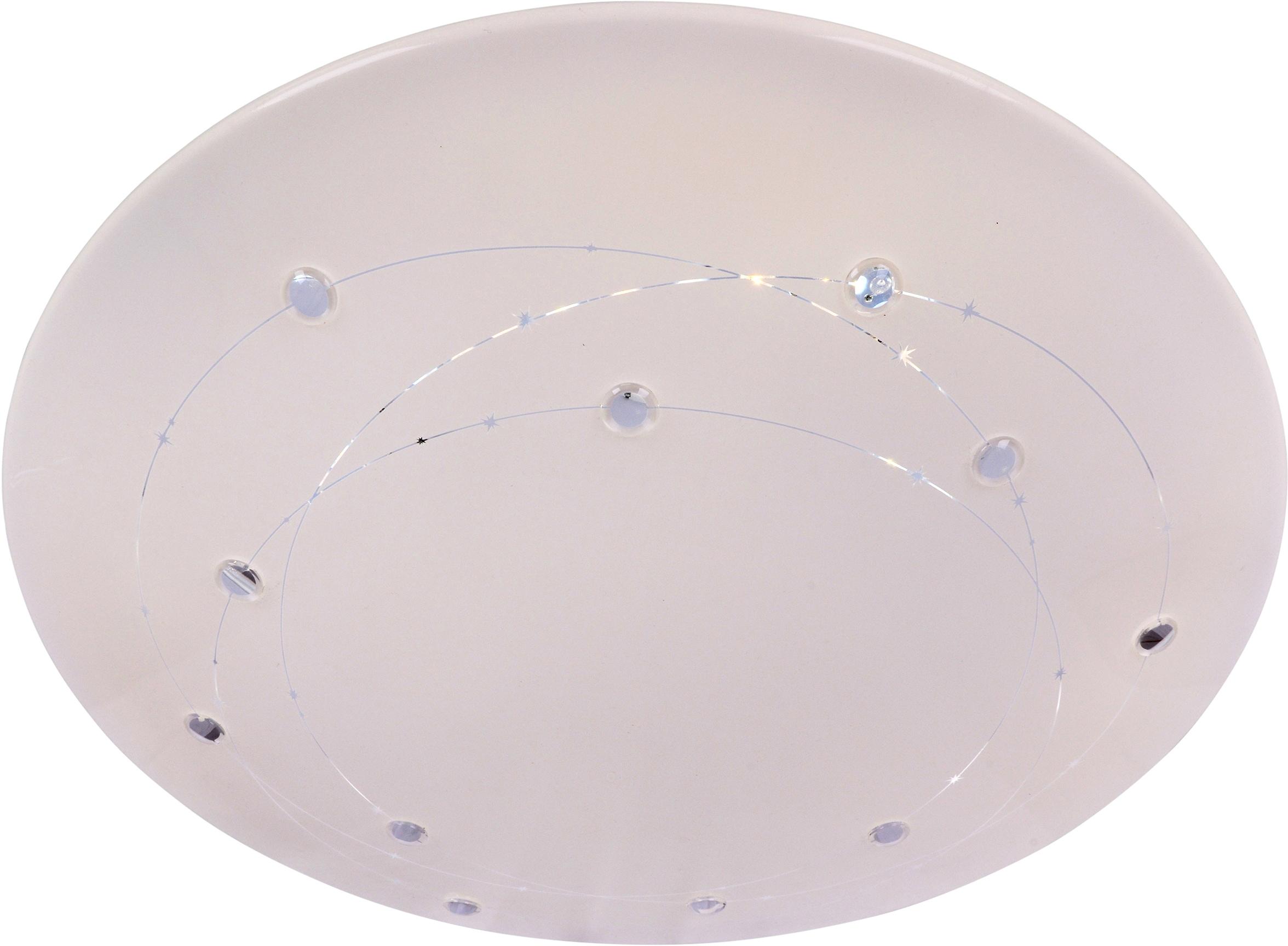 näve LED Deckenleuchte Lissabon, LED-Modul, Farbwechsler, Infrarot-Fernbedienung, Kristalleffekt, Farbwechsler, Memory- und Nachlichtfunktion, dimmbar, Ø 60 cm