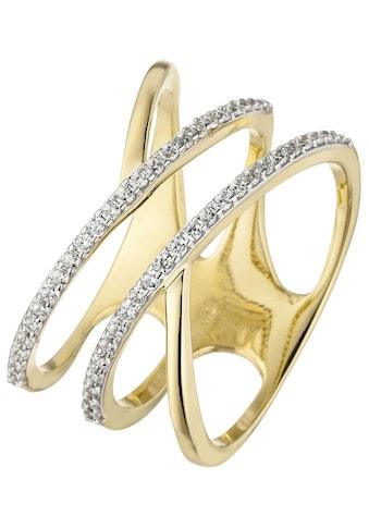 JOBO Goldring, breit mehrreihig 375 Gold mit 52 Zirkonia kaufen