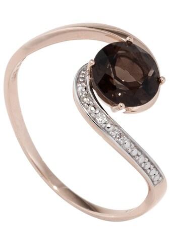 JOBO Diamantring, 585 Roségold bicolor mit Rauchquarz und 3 Diamanten kaufen