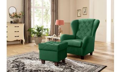 DELAVITA Ohrensessel »Alexandra«, incl. Hocker, mit Steppung, in vielen Farben kaufen