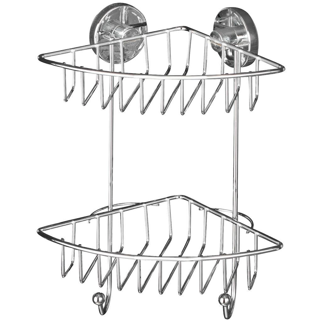 WENKO Duschablage »Bari«, Eckregal, 2 Ablagen und 2 Haken, Vacuum-Loc