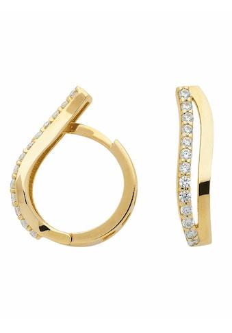 Adelia´s Paar Creolen »333 Gold Ohrringe / Creolen mit Zirkonia«, Goldschmuck für Damen kaufen