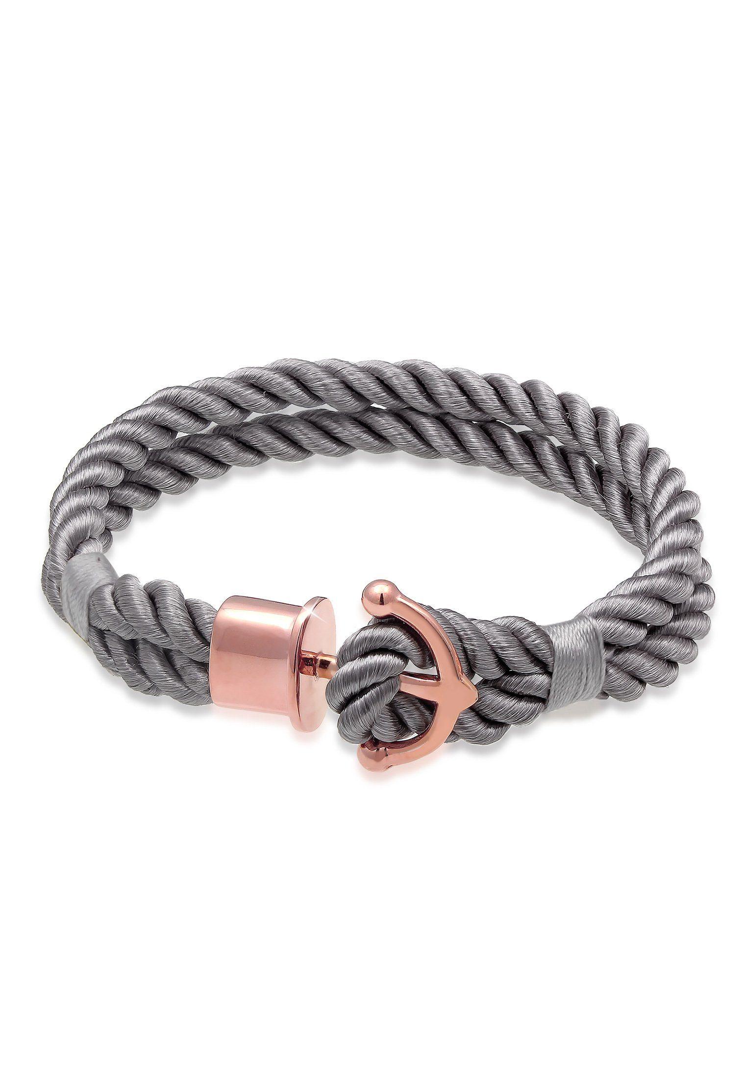 Nenalina Armband Anker Maritim Nylon Bändchen 925er Silber rosé | Schmuck > Armbänder > Silberarmbänder | Nenalina