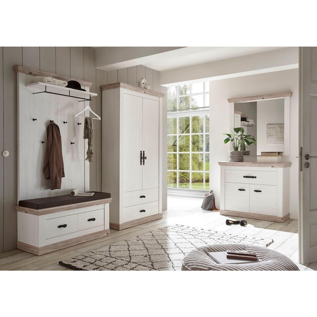 Home affaire Garderoben-Set »Florenz«, (5 St.), bestehend aus 1 Bank, 1 Paneel, 1 Kommode, 1 Spiegel und 1 Stauraumschrank