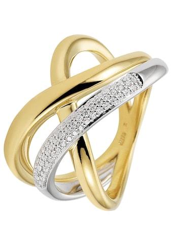 JOBO Diamantring, 585 Gold bicolor mit 61 Diamanten kaufen