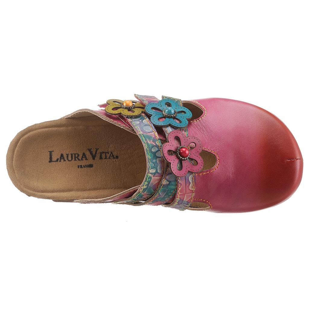 LAURA VITA Clog »BRCYANO«, mit schöner Blütenverzierung
