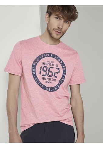 TOM TAILOR T-Shirt »Meliertes T-Shirt mit Print« kaufen