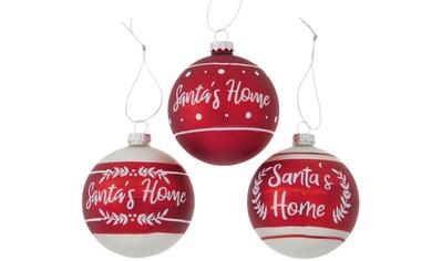 BOLTZE Weihnachtsbaumkugel »Santa´s Home«, (Set, 3 St.), mit Schriftzug, Ø ca. 8 cm kaufen