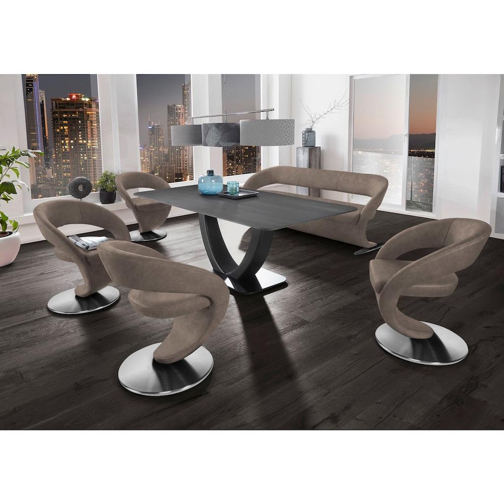 K+W Komfort & Wohnen Essgruppe »Wave«, (Set), Design-Solobank mit 4 Design-Drehstühlen und Tisch in 180x90cm, Tischplatte Wildeiche treibholzfarbig, Füße Bank / Stühle Edelstahloptik gebürstet