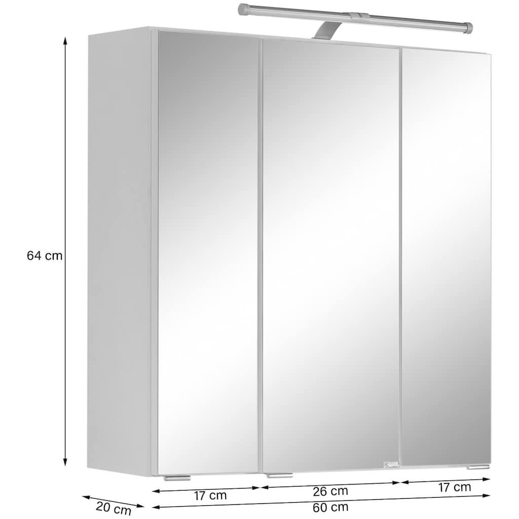 HELD MÖBEL Badmöbel-Set »Avignon«, (3 St.), mit 3D-Spiegelschrank mit LED-Aufsatzleuchte