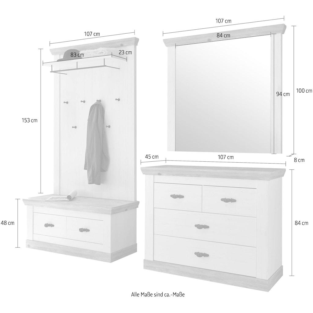 Home affaire Garderoben-Set »Florenz«, (4 St.), bestehend aus 1 Bank, 1 Paneel, 1 Spiegel und 1 Kommode