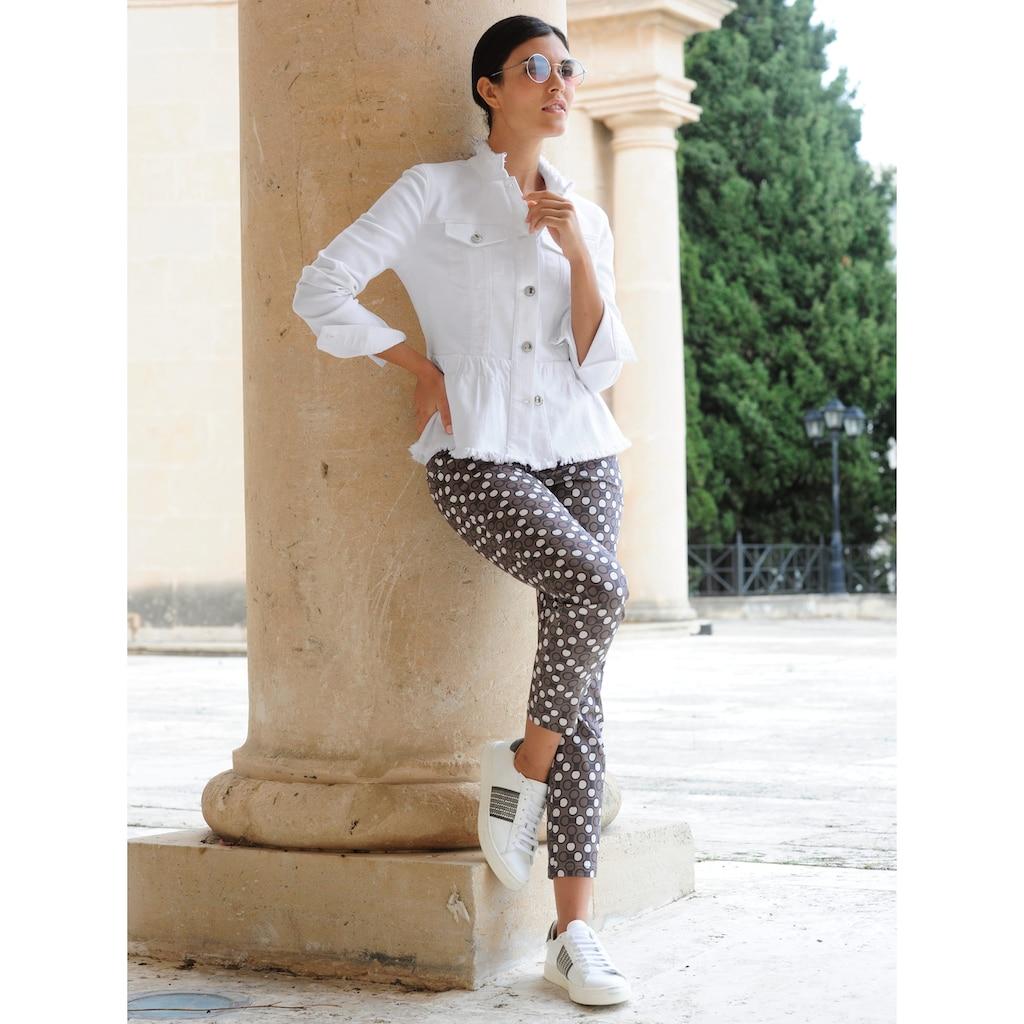 Alba Moda Jeansjacke, mit Fransen-Kanten Verarbeitung