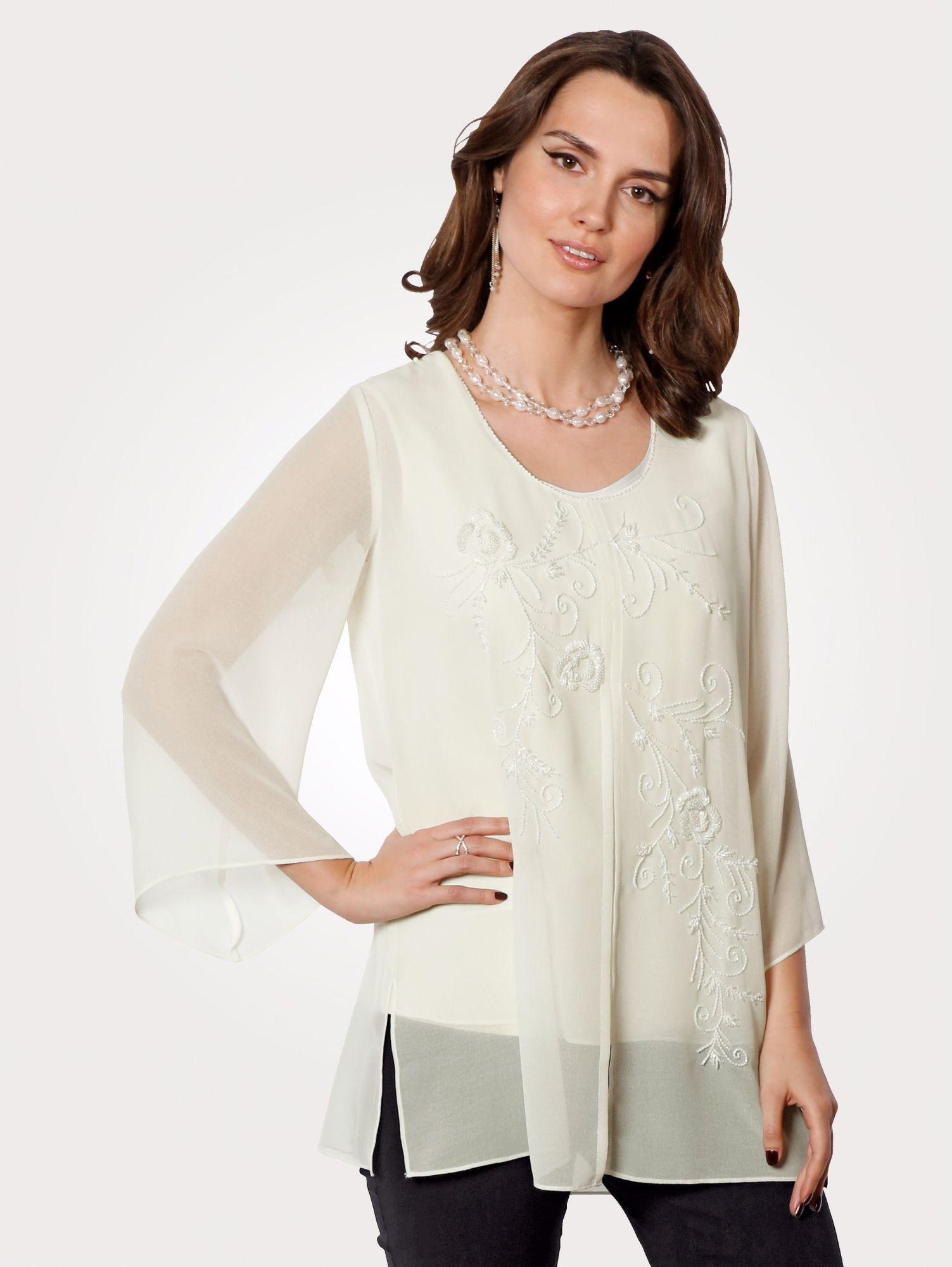 Mona Tunika mit hochwertigen Stäbchenperlen   Bekleidung > Tuniken > Sonstige Tuniken   Georgette - Polyester   Mona