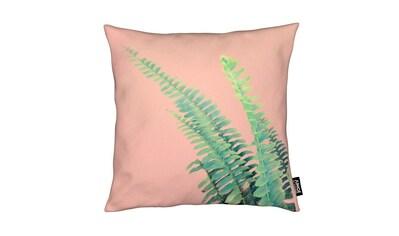 Juniqe Dekokissen »Ferns on Blush Prints«, Weiches, allergikerfreundliches Material kaufen