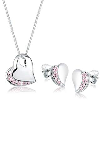 Elli Schmuckset »Herz Kristalle Edel 925 Sterling Silber« kaufen