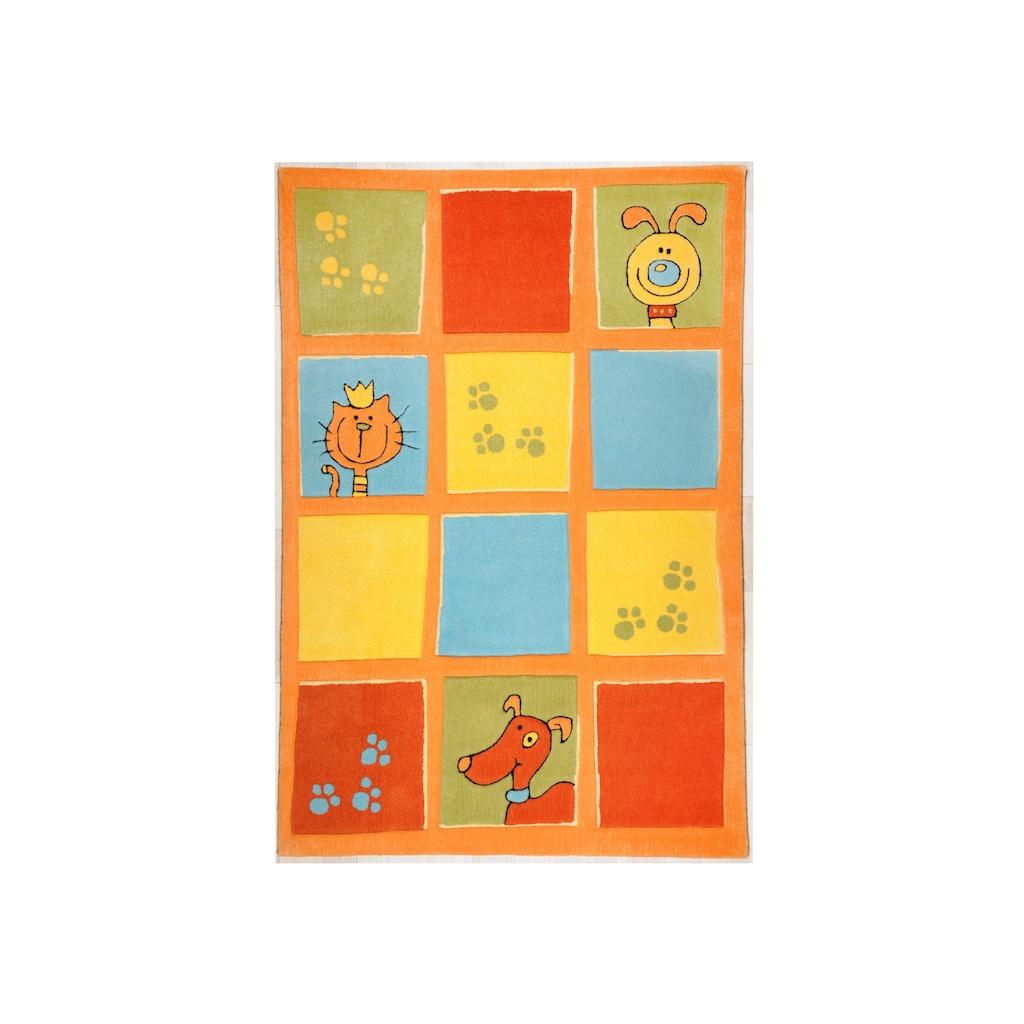 THEKO Kinderteppich »Lustige Haustiere«, rechteckig, 14 mm Höhe, Kurzflor, hochwertiges Acrylgarn, handgearbeiteter Reliefschnitt (Carving), Kinderzimmer