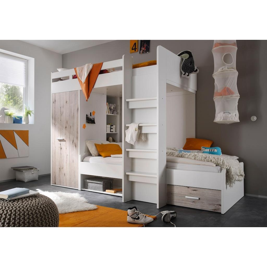 Begabino Hochbett, mit 2 Liegeflächen, Kleiderschrank und Regalen