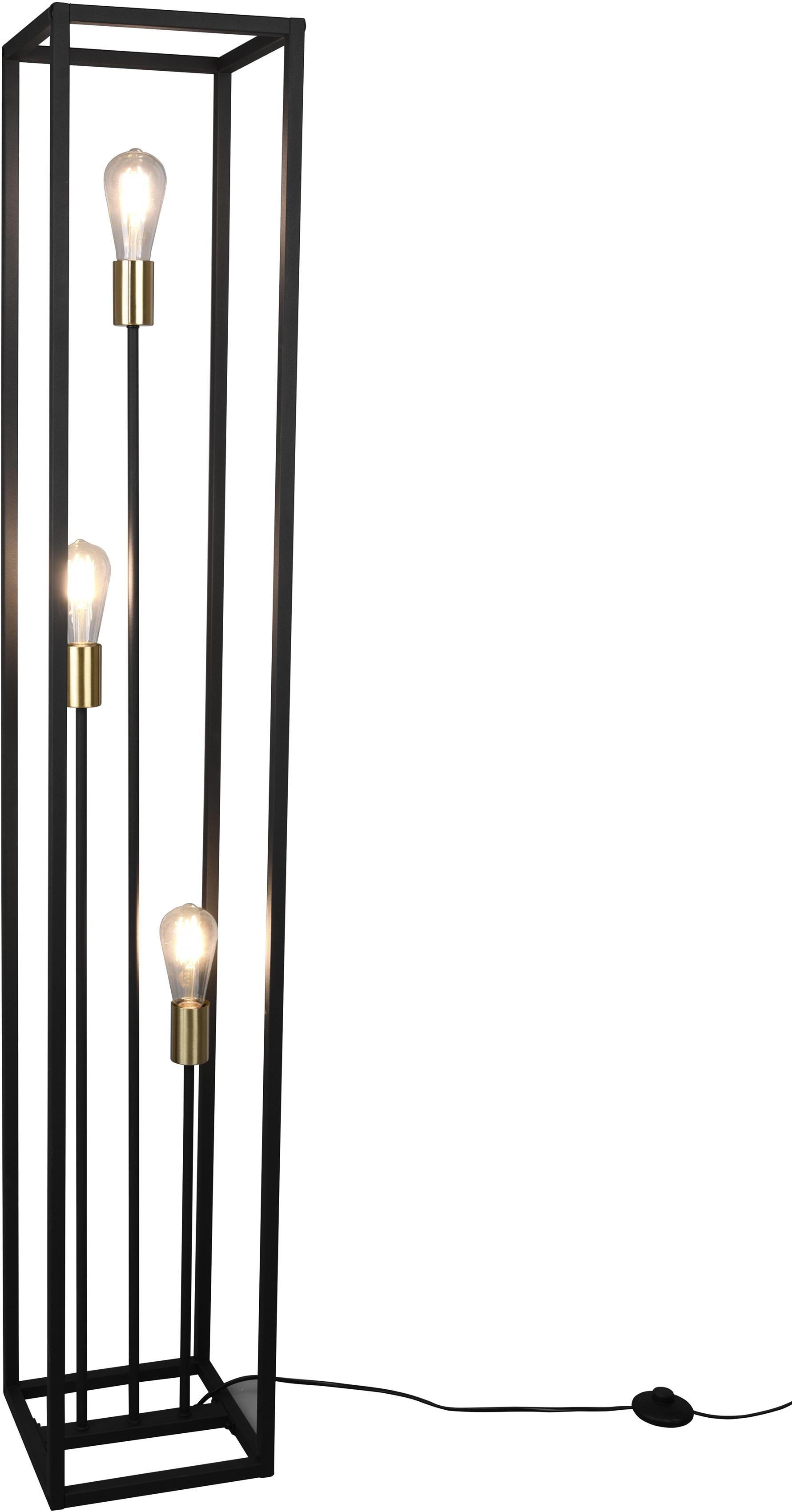 TRIO Leuchten Stehlampe VITO, Stehleuchte 3-flammig, E27, 1 St., Höhe 153cm, Fussschalter, E27-Leuchtmittel frei wählbar, Tülle in Messing abgesetzt