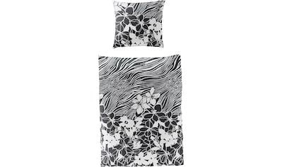 BIERBAUM Bettwäsche »black flowers«, mit floralem Print kaufen