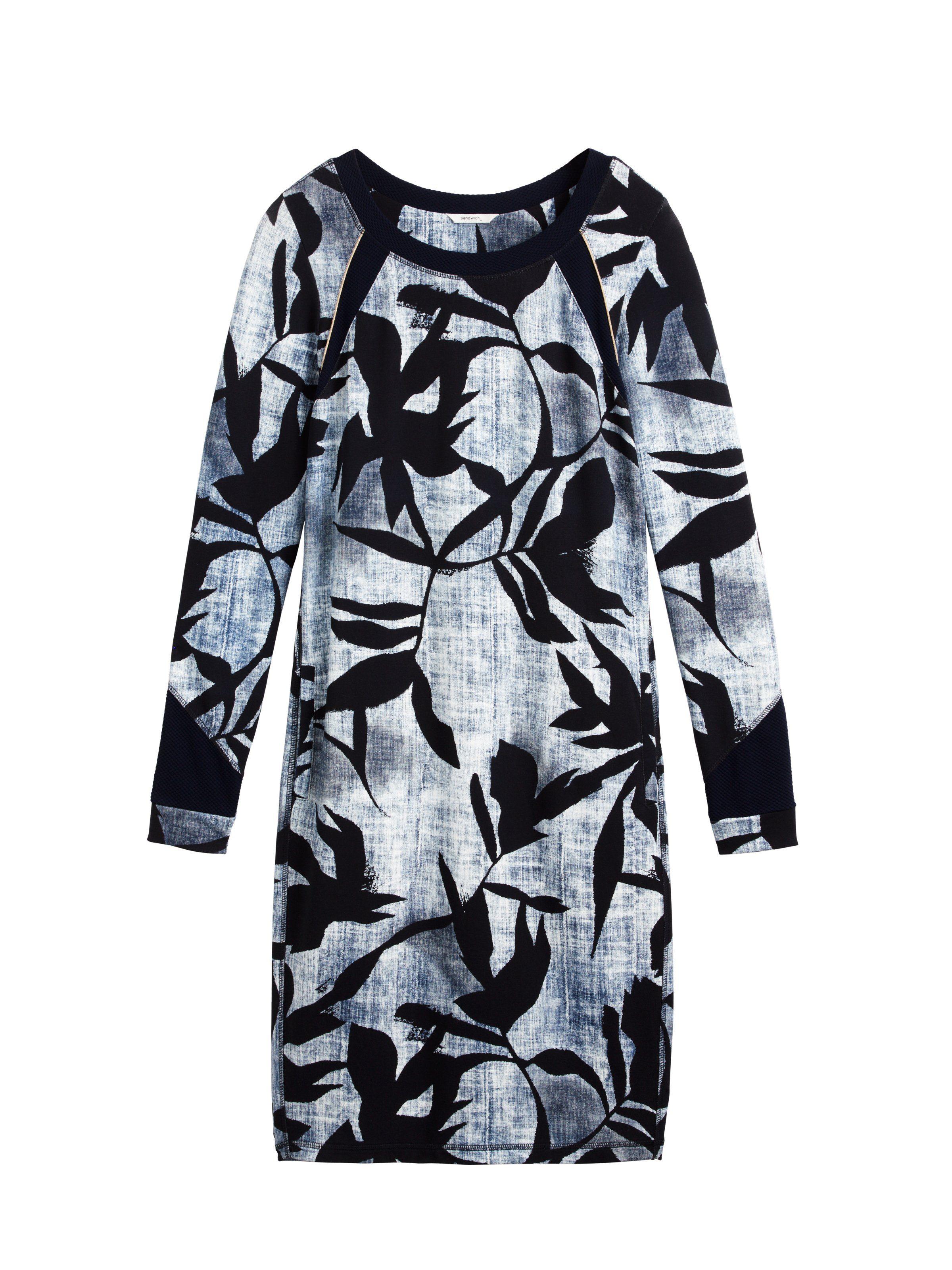 sandwich A-Linien-Kleid mit Blätterprint