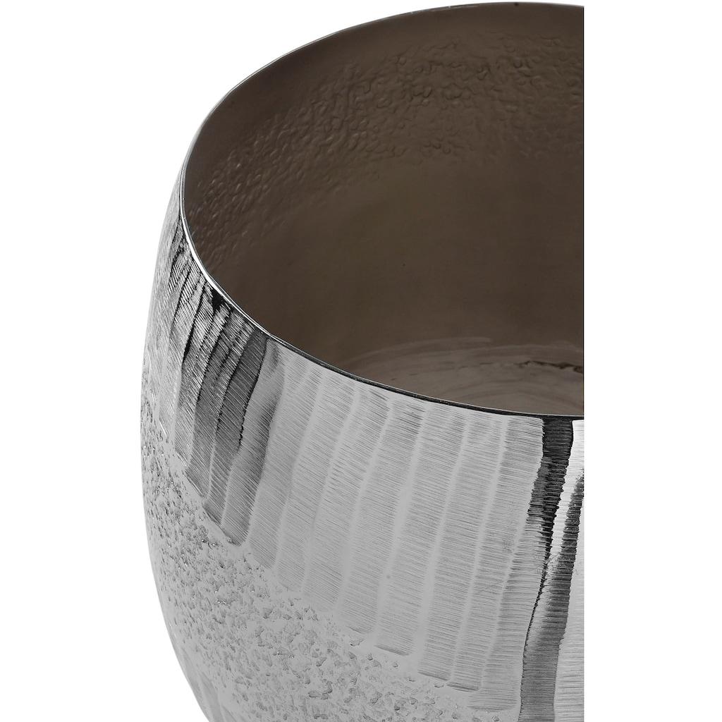 Fink Übertopf »MORENA, silberfarben«, (1 St.), dekorativer Blumentopf, handgefertigt, aus Metall, vernickelt, in verschiedenen Größen erhältlich, Wohnzimmer