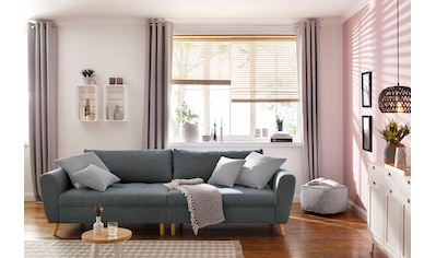 Home Affaire Big   Sofa »Penelope«, Feine Steppung, Lose Kissen,  Skandinavisches