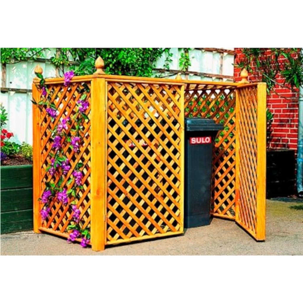 promadino Mülltonnenbox, für 2x240 l aus Holz, BxTxH: 164x89x136 cm