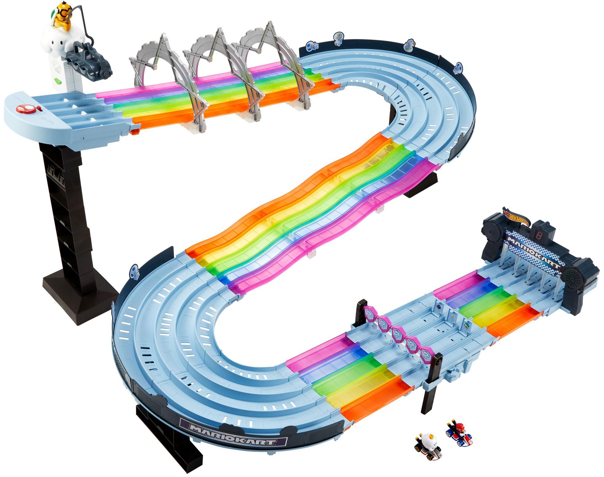 Hot Wheels Autorennbahn Mario Kart Regenbogen Rennstrecke, inkl. 2 Spielzeugautos bunt Kinder Autorennbahnen Autos, Eisenbahn Modellbau