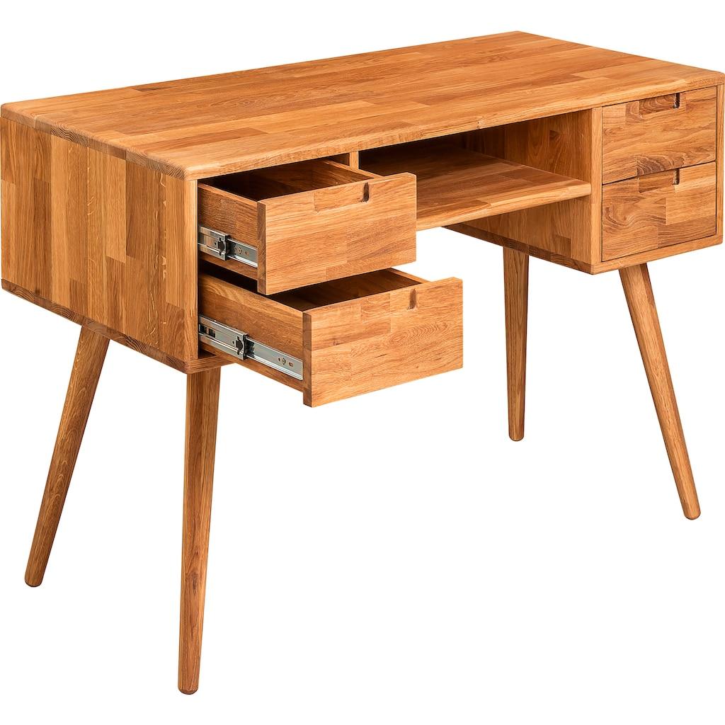 andas Schreibtisch »Scandi«, aus massivem Eichenholz, mit einer praktischen Soft-Close-Funktion, Breite 110 cm