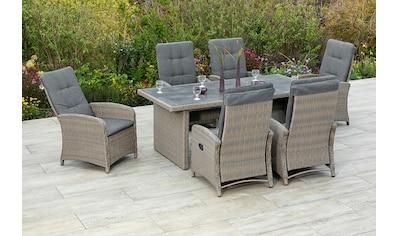 MERXX Gartenmöbelset »Atrani«, (7 tlg.), 6 Hochlehner mit Kissen, Tisch kaufen
