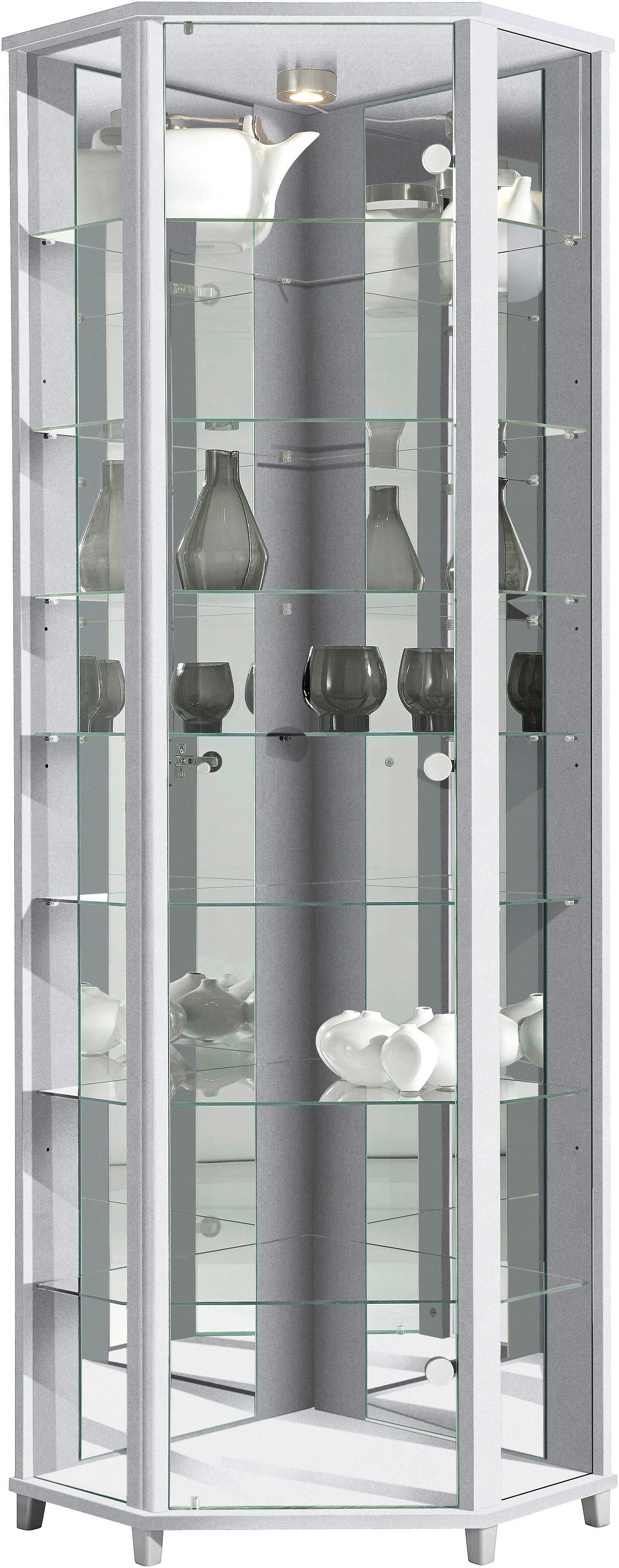 Eckvitrine Höhe 172 cm 7 Glasböden   Wohnzimmer > Vitrinen > Eckvitrinen