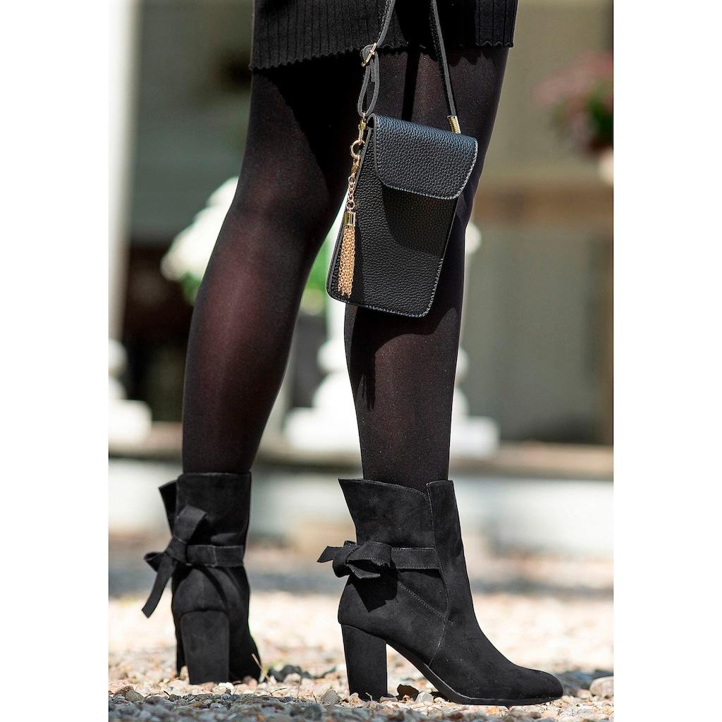 LASCANA Stiefelette, zum Reinschlüpfen aus softem Material mit modischem Blockabsatz und Zierschleife