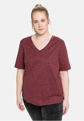 Sheego T-Shirt, mit V-Ausschnitt und Alloverdruck kaufen