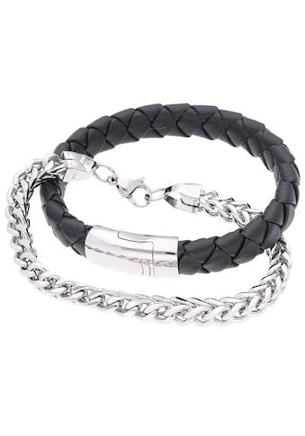 Firetti Armband Set »Glanz, massiv, geflochten, schwarz«, (Set, 2 tlg.) kaufen