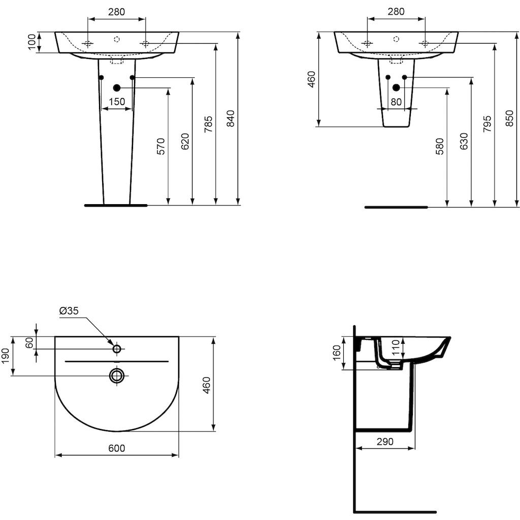Ideal Standard Waschbecken »Connect Air Arc«, halbrund