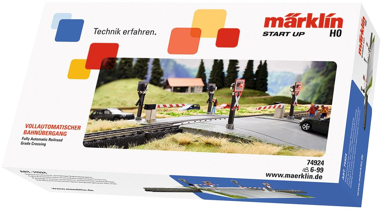 Märklin Modelleisenbahn-Übergang Start up - Vollautomatischer einteiliger Bahnübergang 74924, Made in Europe bunt Kinder Schienen Zubehör Modelleisenbahnen Autos, Eisenbahn Modellbau