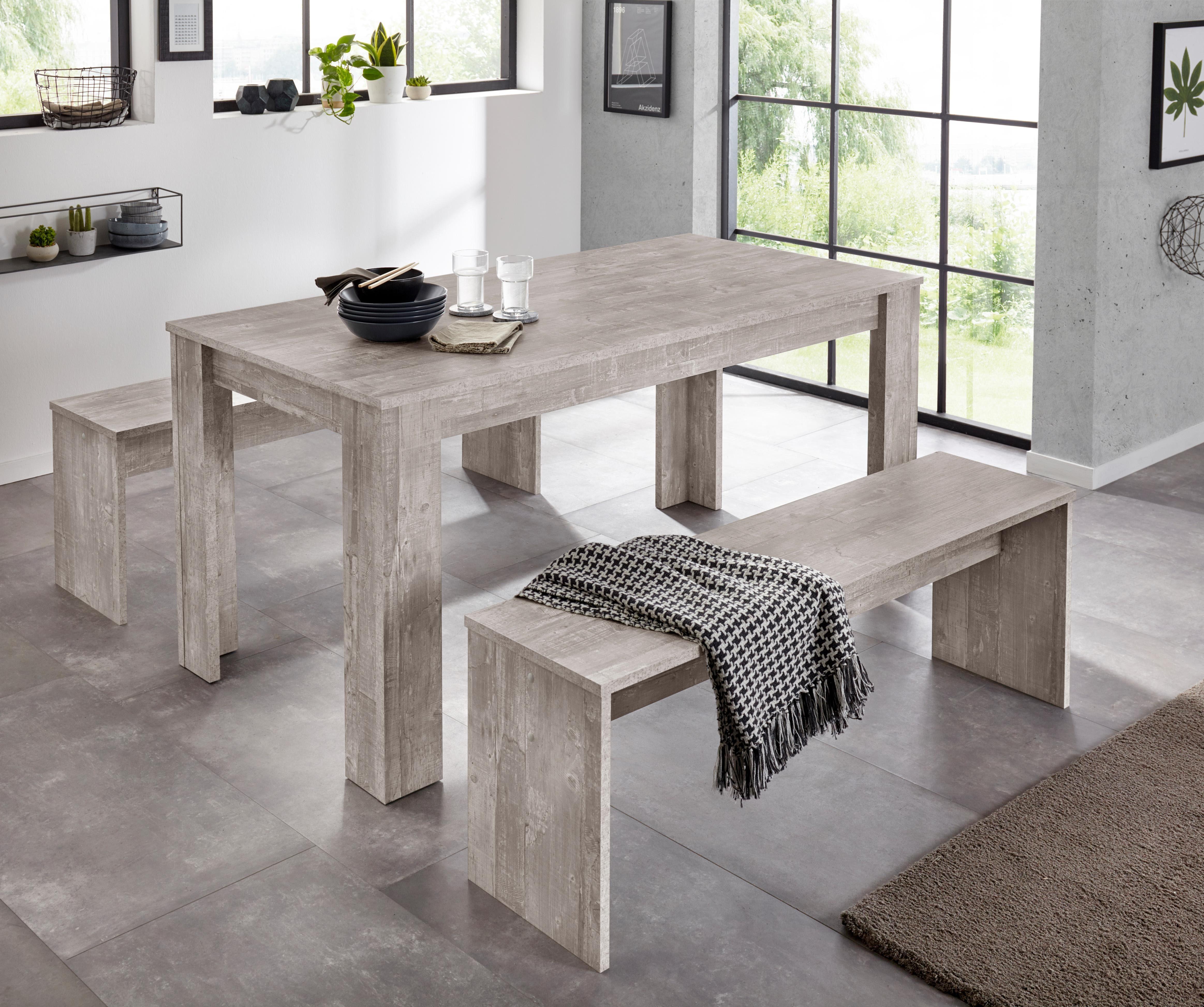 Essgruppe (Set, 3-tlg) grau Essgruppen Tische Sitzmöbel-Sets
