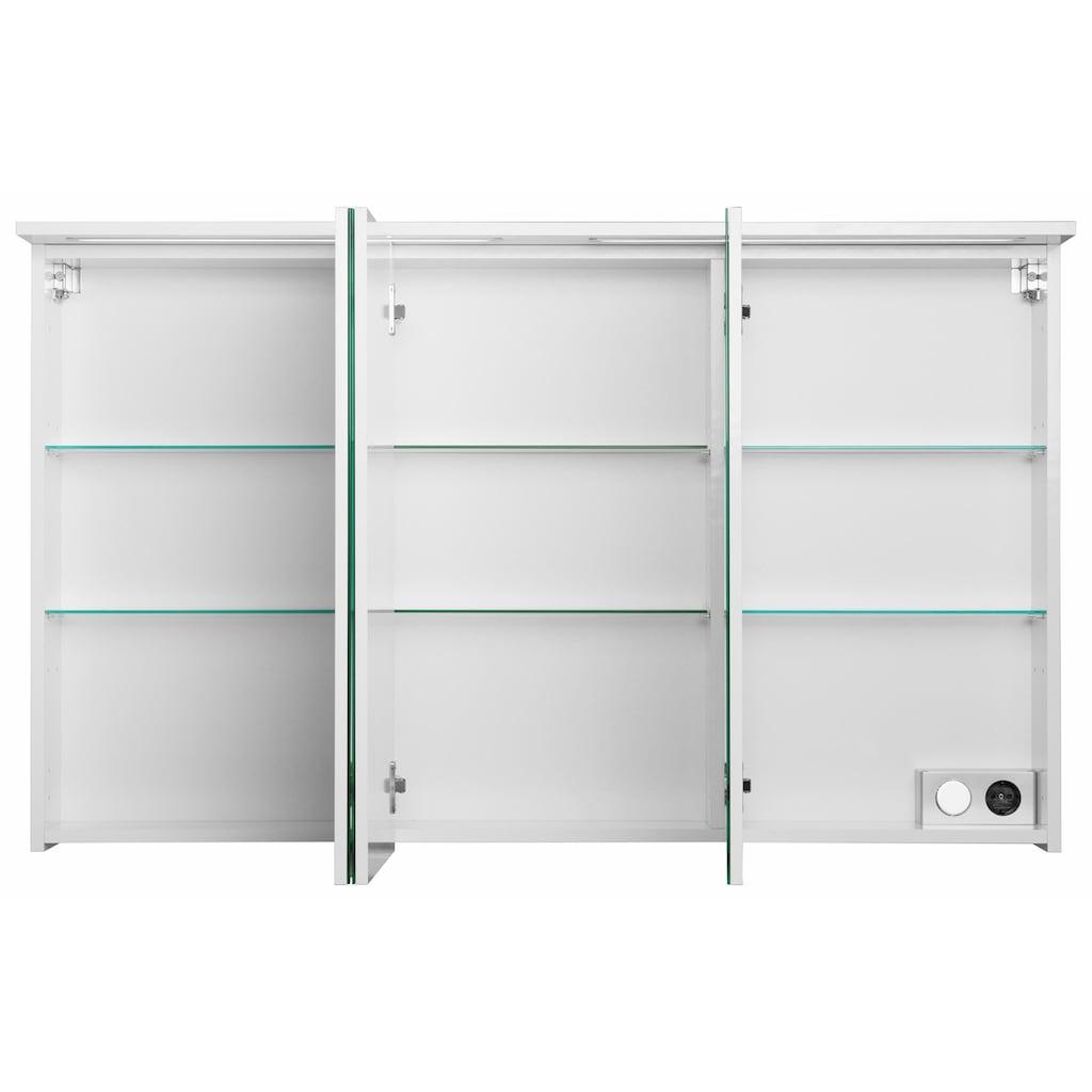 Schildmeyer Spiegelschrank »Profil 16«, Breite 120 cm, 3-türig, 2x eingelassene LED-Beleuchtung, Schalter-/Steckdosenbox, Glaseinlegeböden, Made in Germany