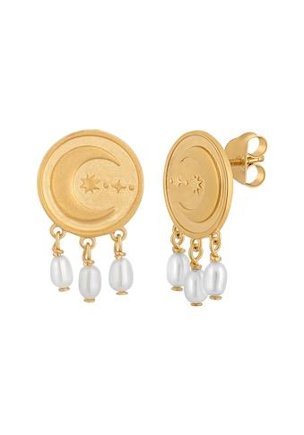CAÏ Paar Ohrstecker »925 Silber vergoldet Münze Mond Perlen« kaufen