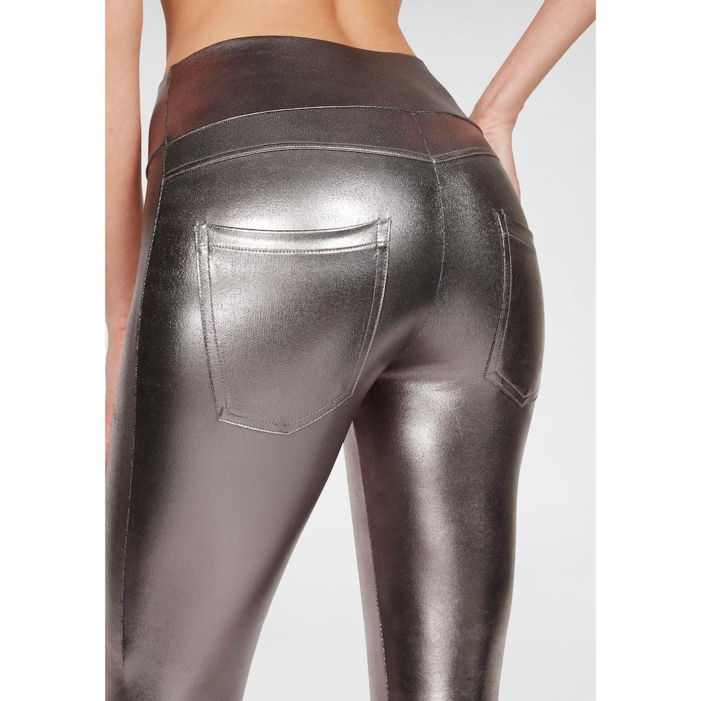 LASCANA Leggings, mit glänzender Beschichtung
