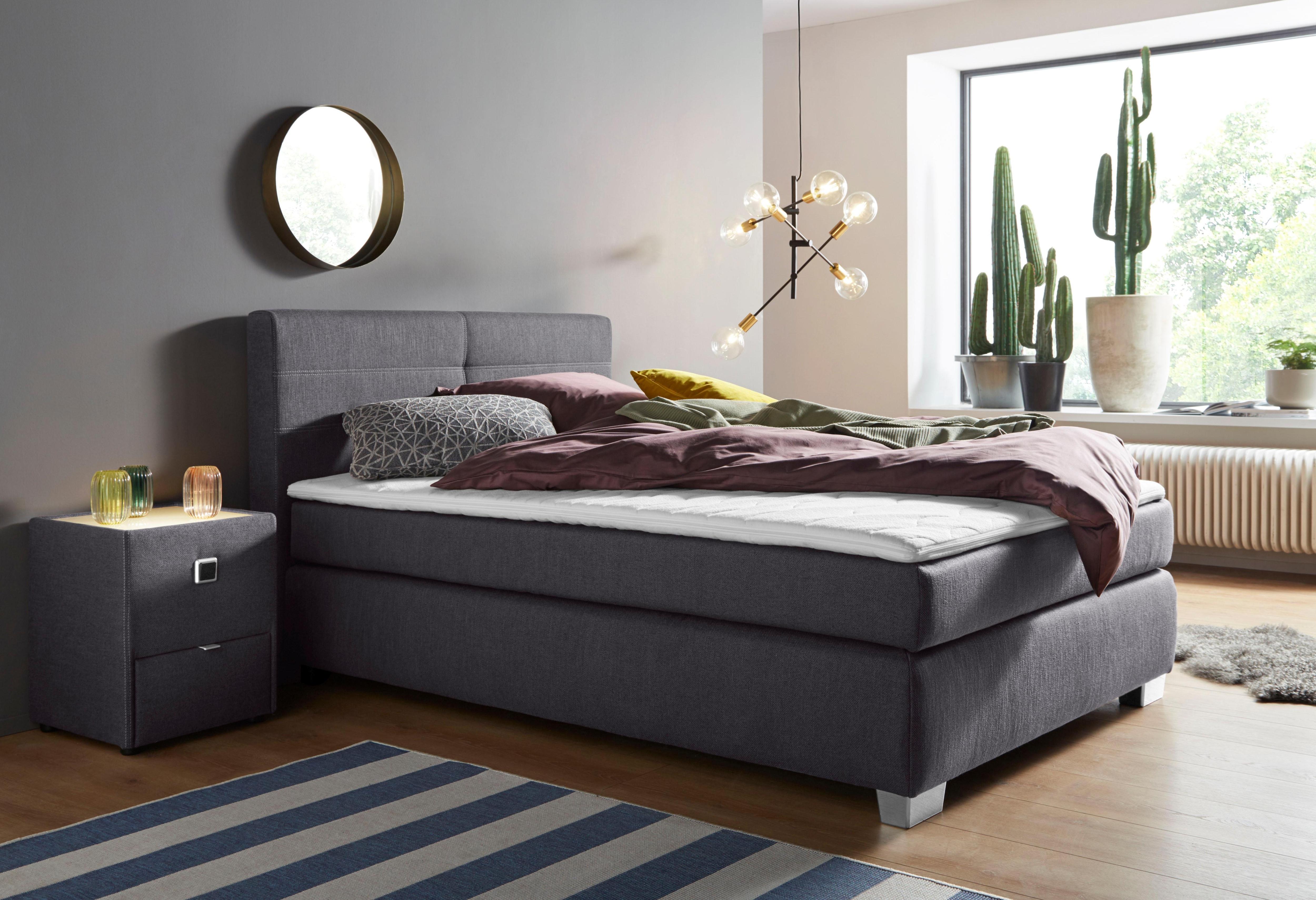 Boxspringbett mit Topper und Zierkissen, in diversen Ausführungen | Schlafzimmer > Betten > Boxspringbetten | Federn