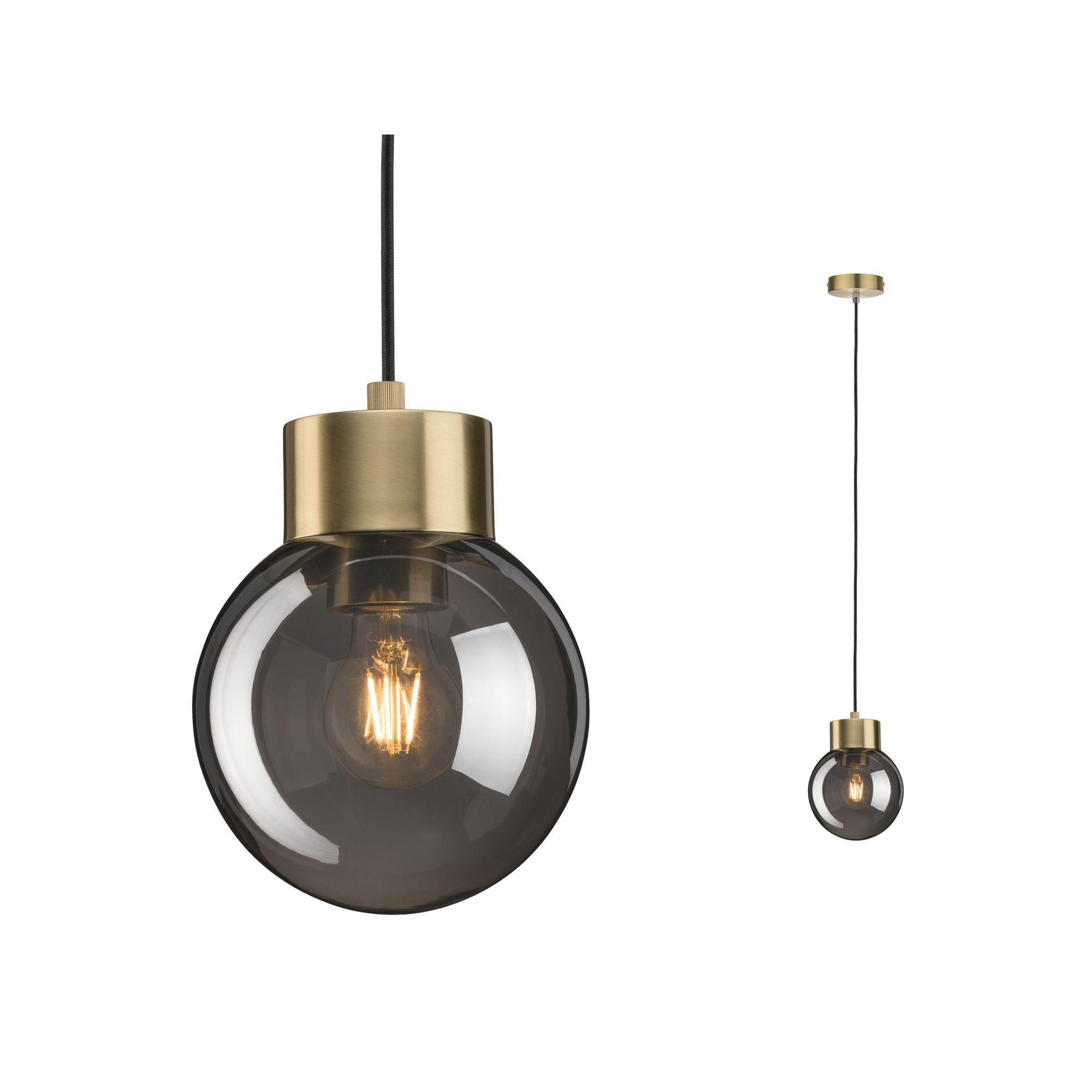 Paulmann LED Pendelleuchte Linja Rauchglas verspiegelt/Messing max. 20W E27, E27, 1 St.