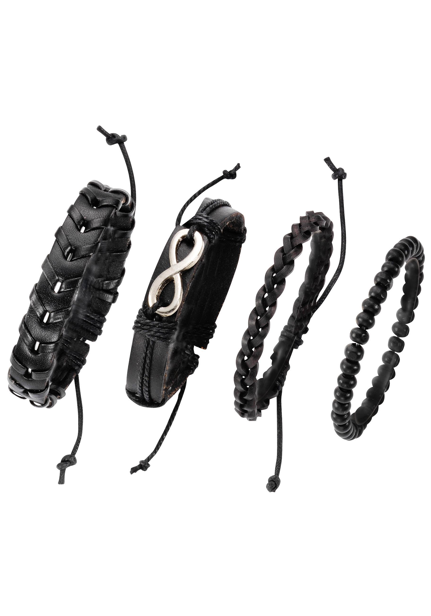 JJayz Armband Set Infinity/Unendlichkeitsschleife (Set 4 tlg)   Schmuck > Armbänder > Sonstige Armbänder   Schwarz   J.Jayz