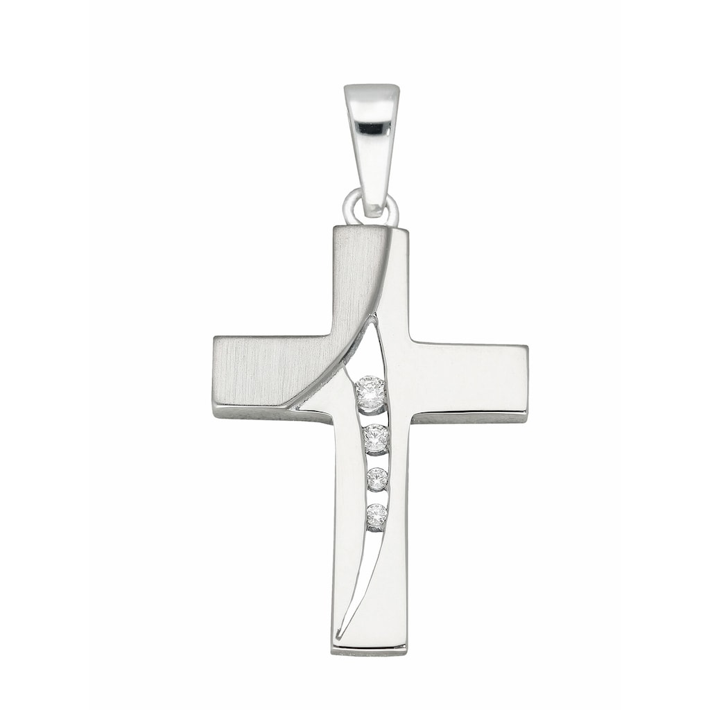 Adelia´s Kettenanhänger »925 Silber Kreuz Anhänger mit Zirkonia«
