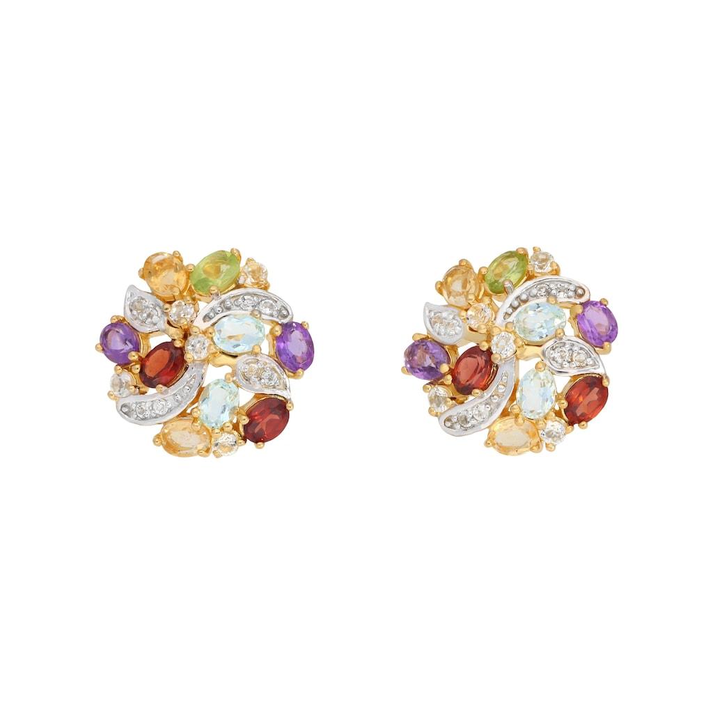 Vivance Paar Ohrstecker »Blumenohrstecker mit echten Steinen«