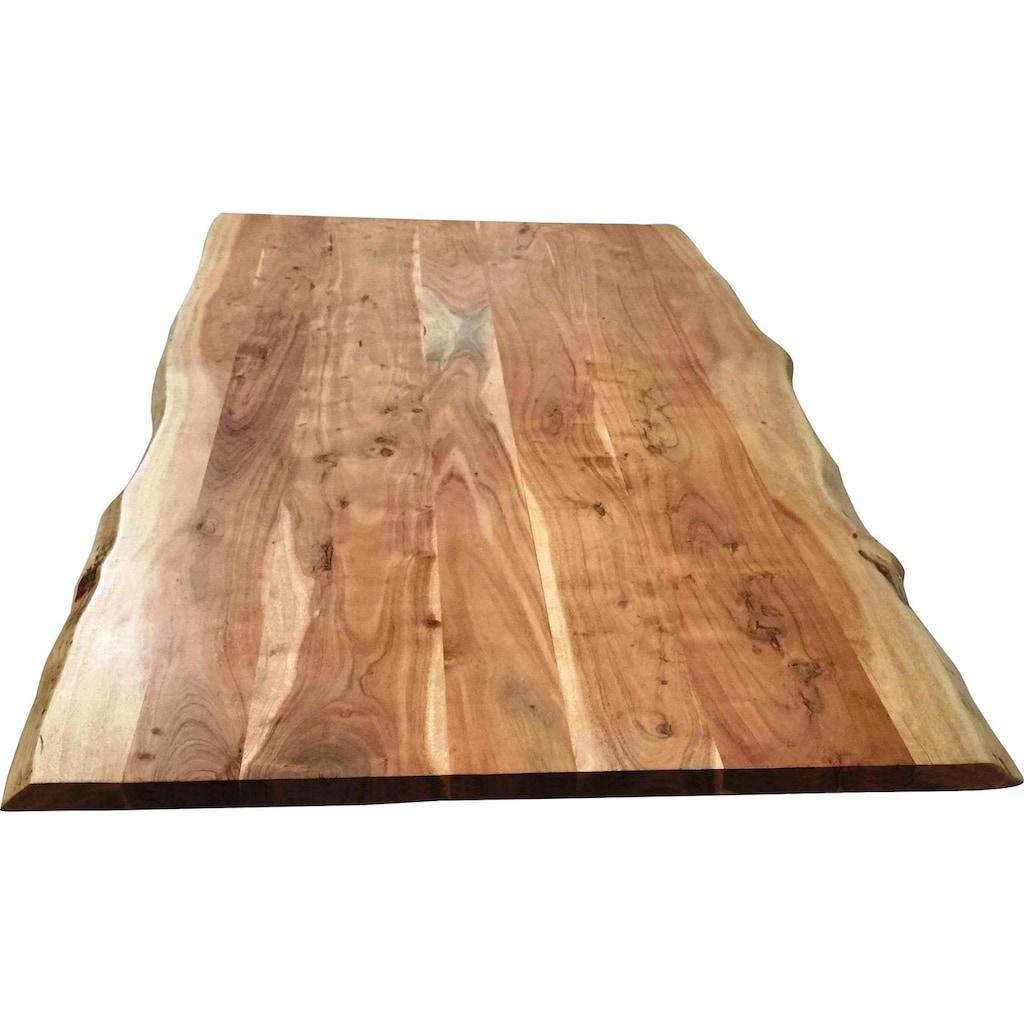 SIT Tischplatte, aus Massivholz Akazie, mit Baumkante