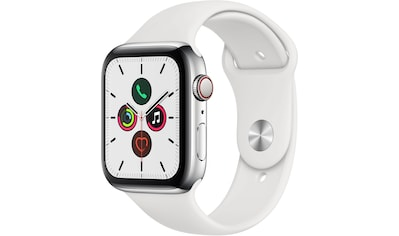 Apple Watch »Series 5 GPS + Cellular, Edelstahlgehäuse mit Sportarmband 44mm«, (Watch... kaufen