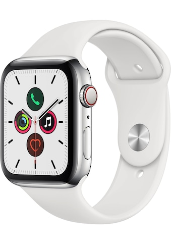 Apple Watch »Series 5 GPS + Cellular, Edelstahlgehäuse mit Sportarmband 44mm«, ( Watch OS 6 inkl. Ladestation (magnetisches Ladekabel)) kaufen