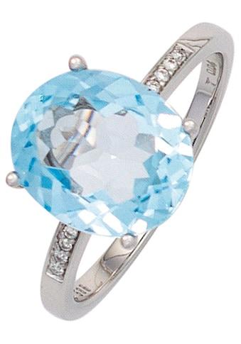 JOBO Diamantring, 585 Weißgold mit Blautopas und 8 Diamanten kaufen