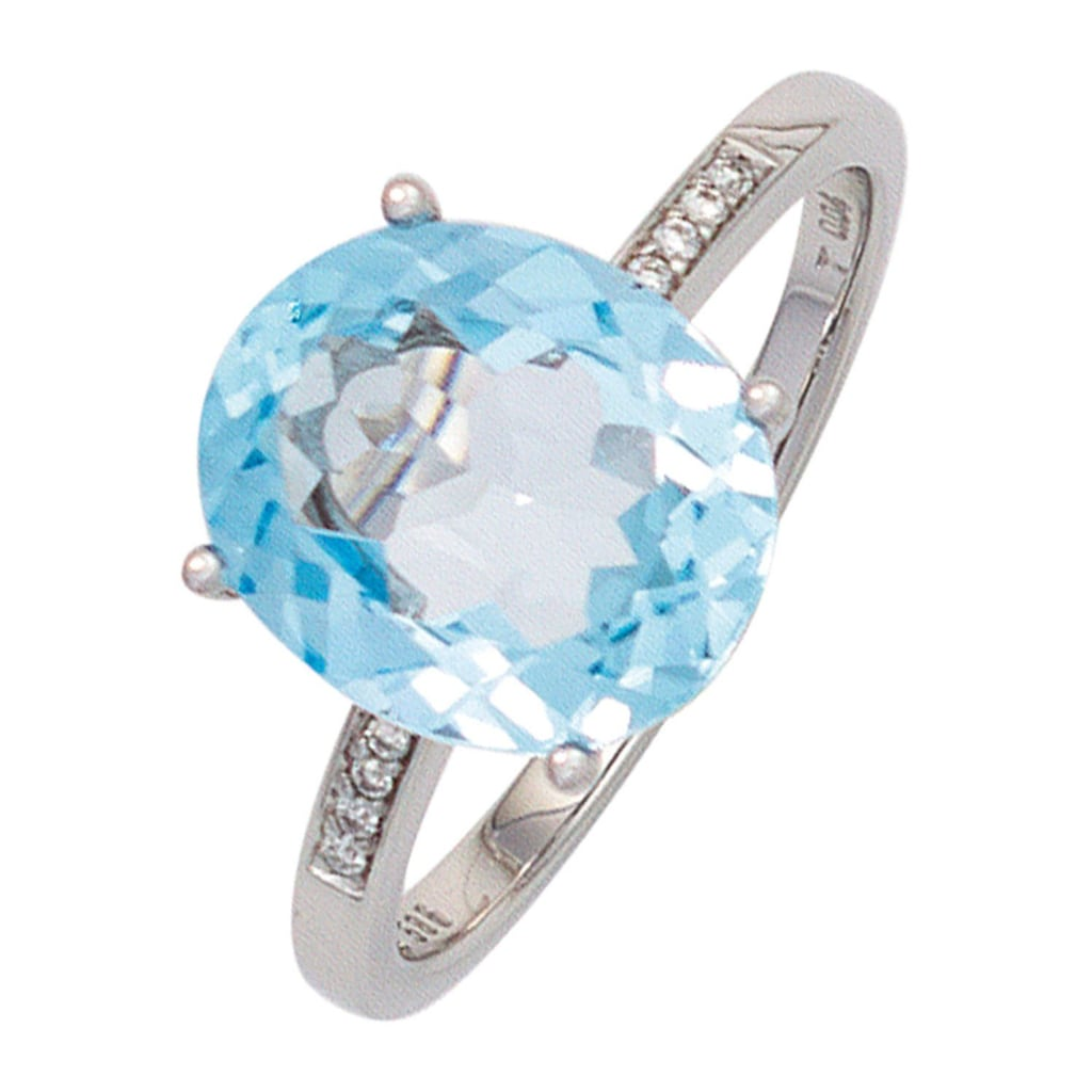 JOBO Diamantring, 585 Weißgold mit Blautopas und 8 Diamanten